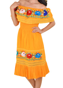 Womens-Traditional-Embroidered-Manta-Off-Shoulder-Pleated-Bottom-Dress-Floral-Orange