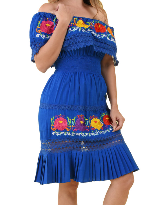 Womens-Traditional-Embroidered-Manta-Off-Shoulder-Pleated-Bottom-Dress-Floral-Blue