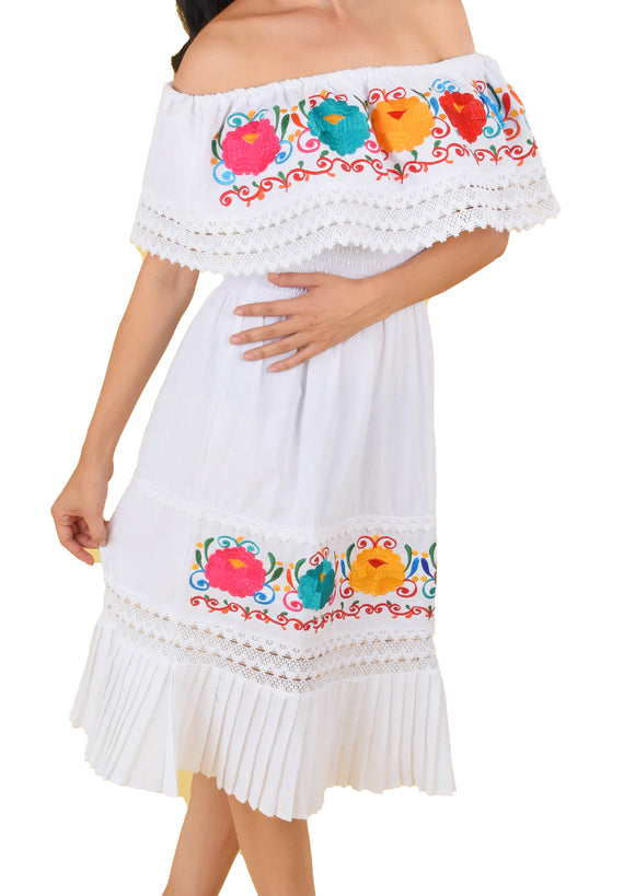 Womens-Traditional-Embroidered-Manta-Off-Shoulder-Pleated-Bottom-Dress-Floral-White