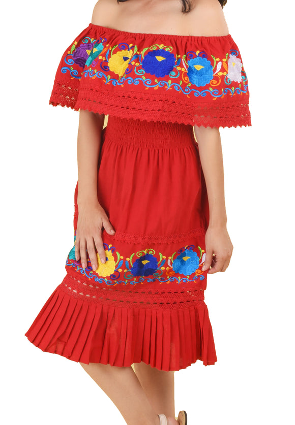 Womens-Traditional-Embroidered-Manta-Off-Shoulder-Pleated-Bottom-Dress-Floral-Red