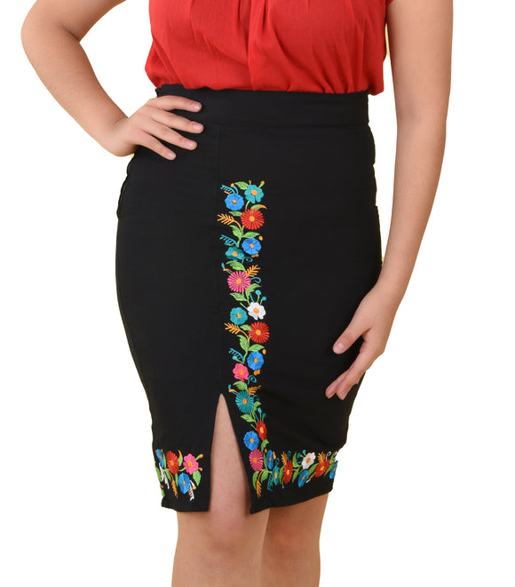 Womens-Traditional-Embroidered-Manta-Skirt-Floral-Black