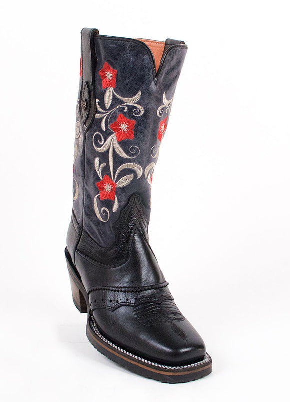 Quincy-Boots-Womens-Crazy-Leather-Floral-Black-Rodeo-Toe-Western-Boot