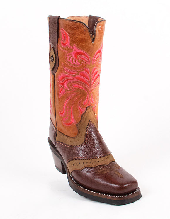 Quincy-Boots-Womens-Crazy-Leather-Floral-Brown-Rodeo-Toe-Western-Boot