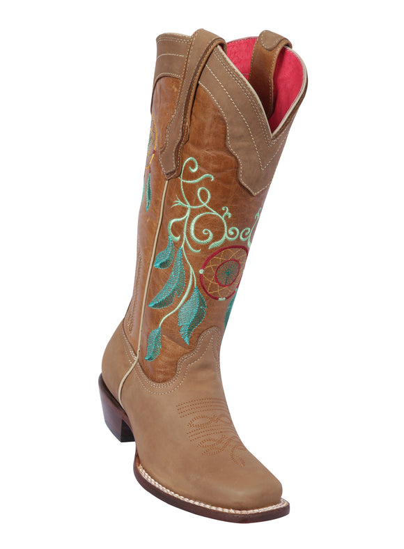 Quincy-Boots-Womens-Grasso-and-Crazy-Leather-Dream-Catcher-Tan-Rodeo-Toe-Western-Boot