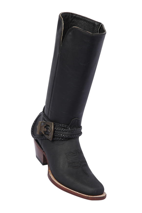 Quincy-Boots-Womens-Grasso-and-Crazy-Leather-Rope-Belt-Black-Rodeo-Toe-Western-Boot