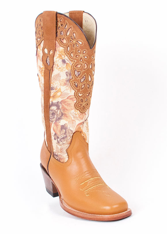 Quincy-Boots-Womens-Grasso-and-Crazy-Leather-Floral-Print-Honey-Rodeo-Toe-Western-Boot