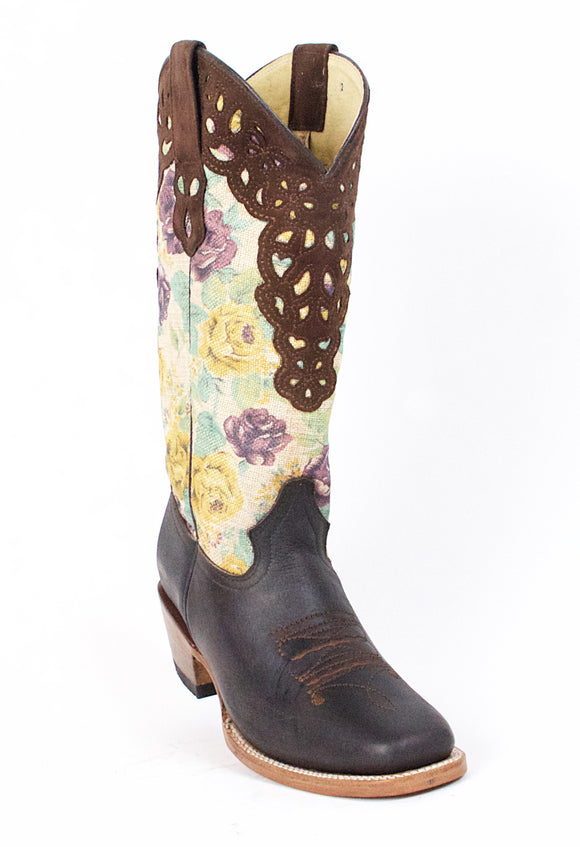 Quincy-Boots-Womens-Grasso-and-Crazy-Leather-Floral-Print-Brown-Rodeo-Toe-Western-Boot