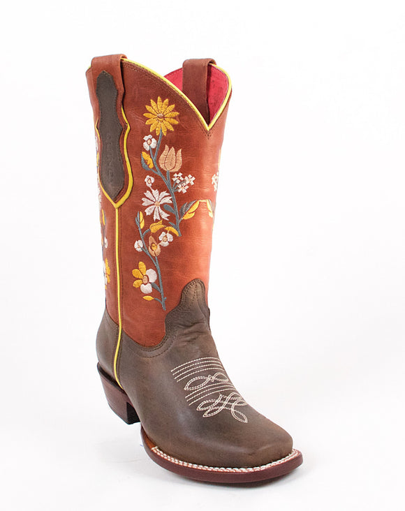 Quincy-Boots-Womens-Volcano-Leather-Floral-Shaft-Brown-Round-Toe-Western-Boot