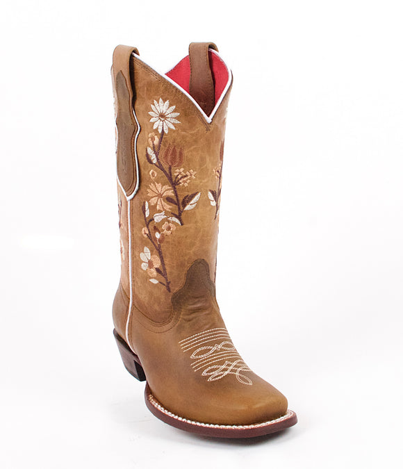 Quincy-Boots-Womens-Volcano-Leather-Floral-Shaft-Honey-Round-Toe-Western-Boot