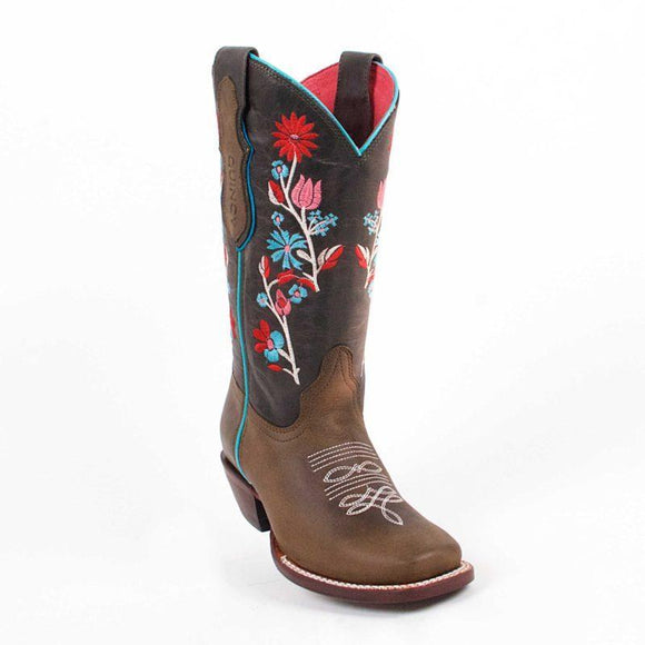 Quincy-Boots-Womens-Volcano-Leather-Floral-Shaft-Chocolate/Cognac-Round-Toe-Western-Boot