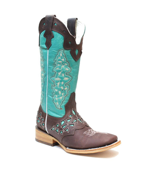 Quincy-Boots-Womens-Crazy-Leather-Choco/Turquoise-Ranch-Toe-Western-Boot