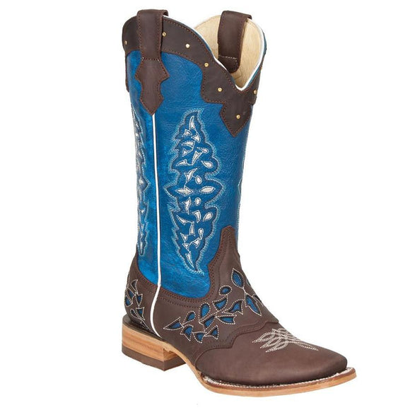 Quincy-Boots-Womens-Crazy-Leather-Choco/Blue-Ranch-Toe-Western-Boot