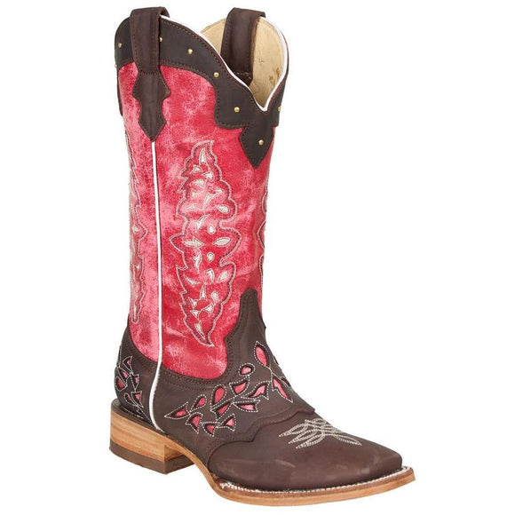Quincy-Boots-Womens-Crazy-Leather-Choco/Pink-Ranch-Toe-Western-Boot
