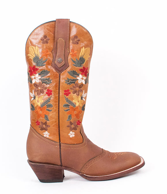 Quincy-Boots-Womens-Crazy-Leather-Floral-Brown-Ranch-Toe-Western-Boot