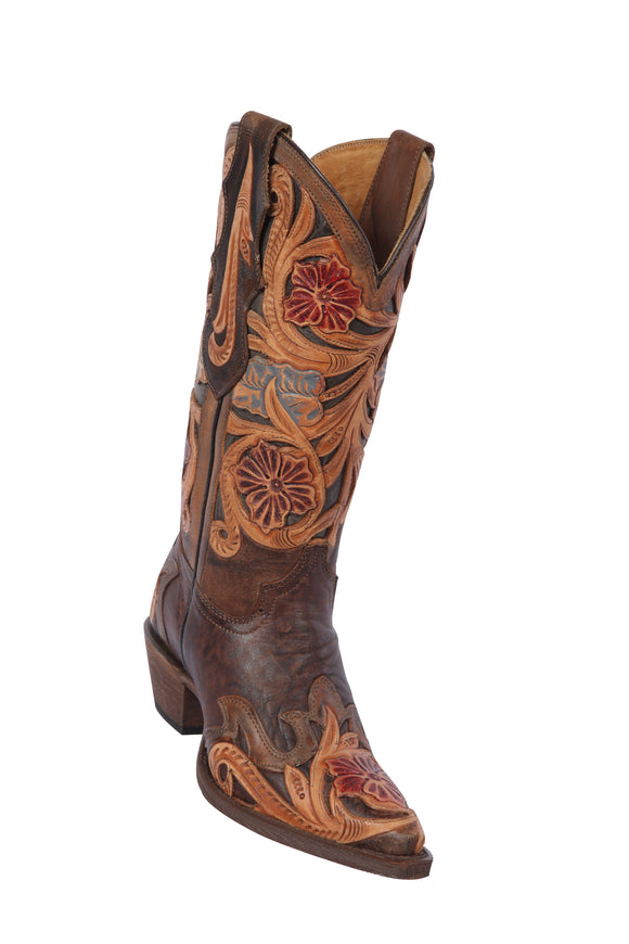 Quincy-Boots-Womens-Hand-Tooled-Leather-Chocolate-Snip-Toe-Western-Boot