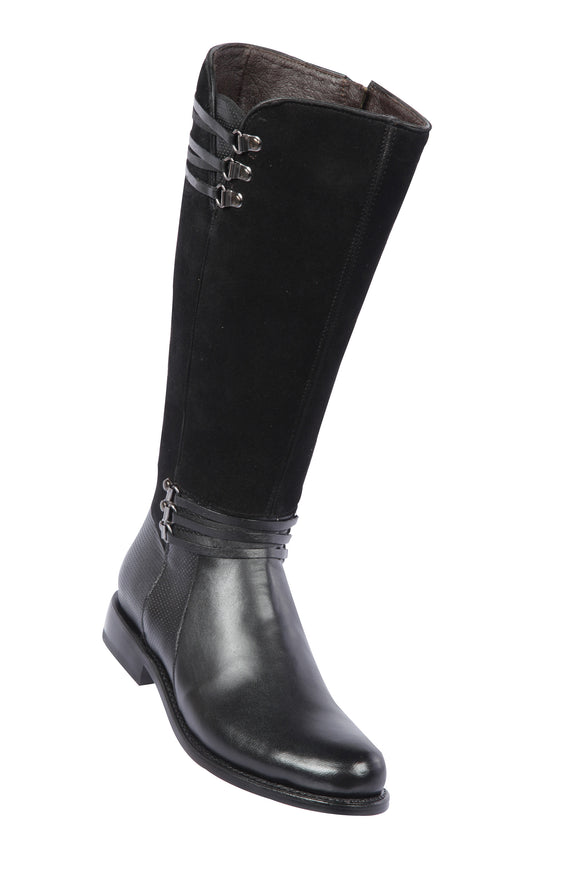 Quincy-Boots-Womens-Fashion-Goat-Leather-Suede-Black-Round-Toe-Western-Boot