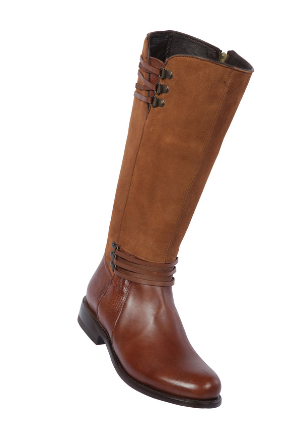 Quincy-Boots-Womens-Fashion-Goat-Leather-Suede-Brown-Round-Toe-Western-Boot