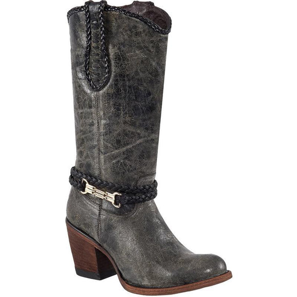 Quincy-Boots-Womens-Fashion-Vintage-Leather-Gray-Round-Toe-Western-Boot