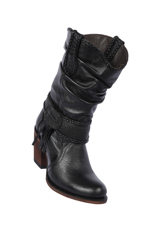 Quincy-Boots-Womens-Fashion-Floater-Leather-Short-Black-Round-Toe-Western-Boot