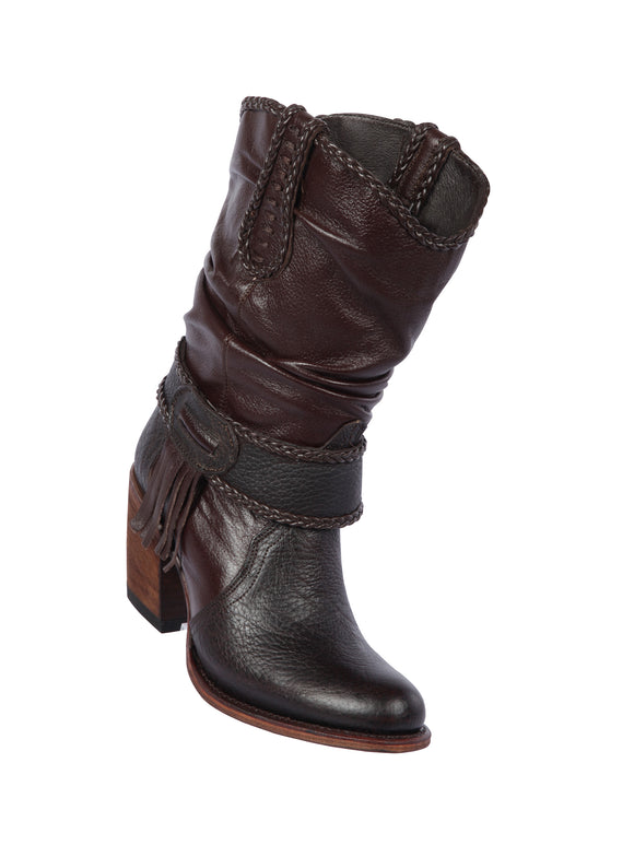 Quincy-Boots-Womens-Fashion-Floater-Leather-Short-Brown-Round-Toe-Western-Boot