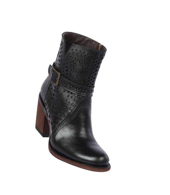 Quincy-Boots-Womens-Fashion-Floater-Leather-with-Print-Black-Round-Toe-Western-Boot