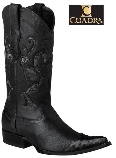 Men's CUADRA Boots Smooth Ostrich Black Chihuahua - Y3AV3P
