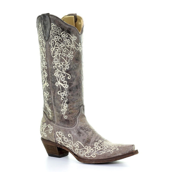 Women's Corral Brown Crater Bone Embroidery Western Boots The Snip Lisa