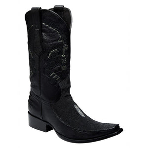 Cuadra Men's Stingray European Toe Western Boot - Black - RR Western Wear, Cuadra Men's Stingray European Toe Western Boot - Black
