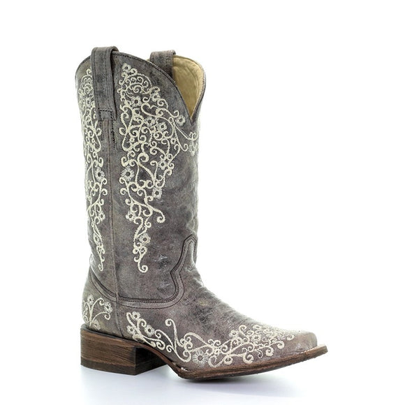 Women's Corral Brown Crater Bone Embroidery Sq. Toe Western Boots Sq Iconic Lisa