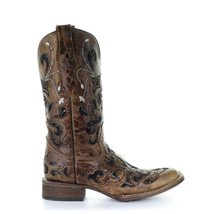 Women's Corral Ant. Saddle / Black  Sequence Fleur De Lis Sq. Toe Western Boots Tina