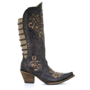 Women's Corral Black-Bone Inlay Back Straps Western Boots Magdalena