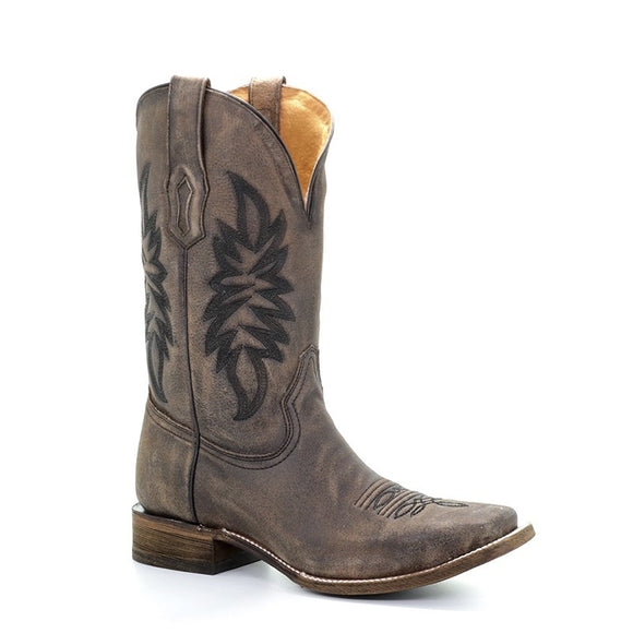 Men's Corral Vintage Brown Embroidery Sq Toe - Comfort System Western Boots Sam