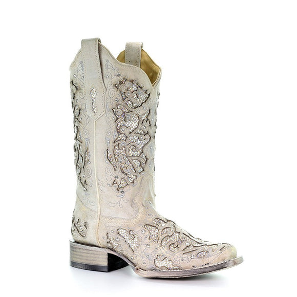 Women's Corral White Glitter Inlay & Crystals Sq. Toe Western Boots Eliza