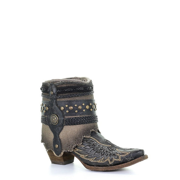 Women's Corral Black- Bone Flipped Shaft Straps & Inlay Wings & Cross & Jute Strapped Rug An Western Boots Cross & Wings Bootie