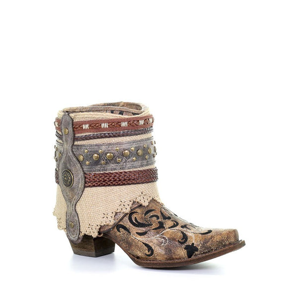 Women's Corral Cognac Flipped Shaft & Straps & Jute Strapped Rug Ankle Boot Western Boots Geraldine