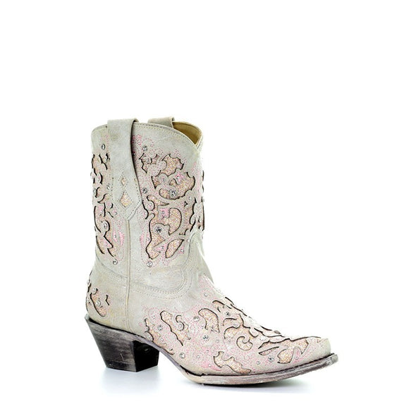 Women's Corral White - Pink Glitter Inlay & Crystals Ankle Boot Western Boots Mariah Pink