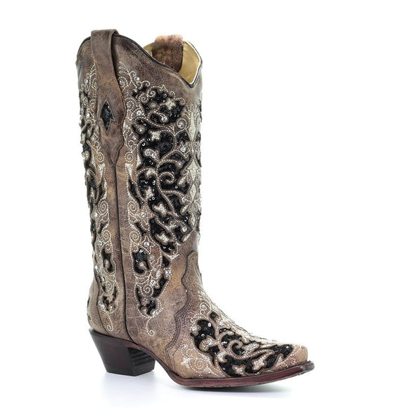 Women's Corral Brown Inlay & Flowered Embroidery & Studs & Crystals Western Boots Ashley