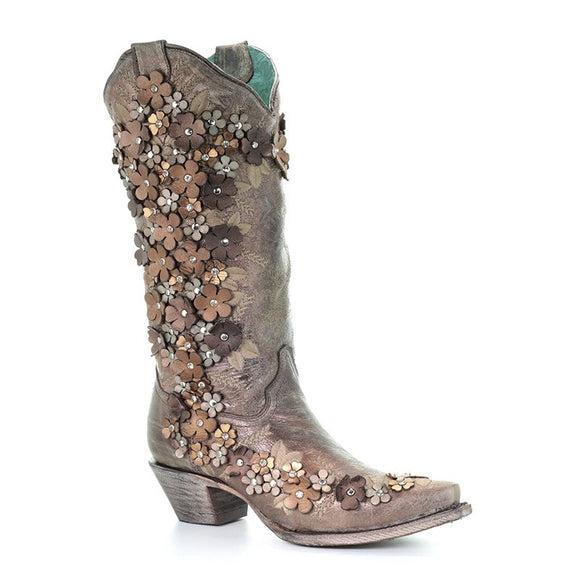 Women's Corral Tobacco Floral Overlay & Embroidery & Studs & Crystals Western Boots