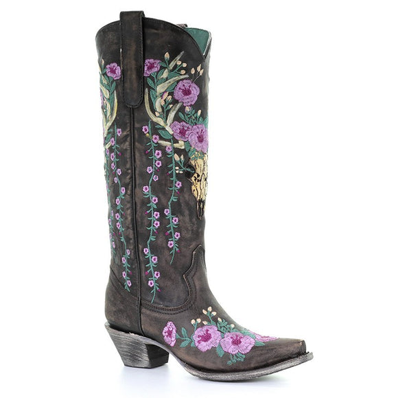 Women's Corral Brown Deer Skull Overlay & Floral Embroidery Western Boots