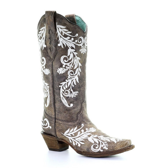 Women's Corral Brown/White Embroidery Western Boots A3753