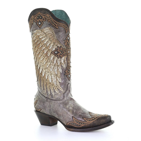 Women's Corral Tobacco Wings & Cross Overlay & Embroidery & Studs & Crystals Western Boots A3771