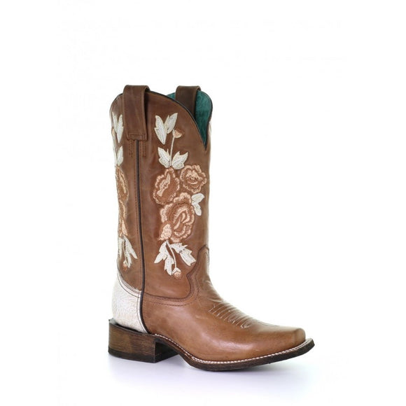 Women's Corral  Honey/Bone Floral Embroidery Sq. Toe Rodeo Collection Western Boots A3805