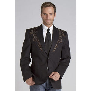 Circle S Men's Apparel - Galveston Sport Coat w/ Boot-Stitch Yokes - Black - RR Western Wear, Circle S Men's Apparel - Galveston Sport Coat w/ Boot-Stitch Yokes - Black