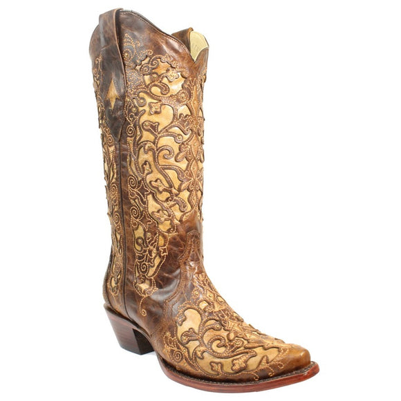 Corral Women's Brown Inlay Embroidery Western Boot - RR Western Wear, Corral Women's Brown Inlay Embroidery Western Boot