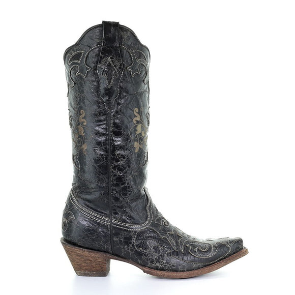 Women's Corral Black Vintage Lizard Inlay Snip Toe Western Boots Lizzie