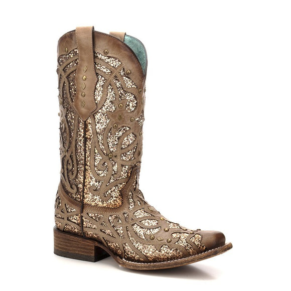 Women's Corral Orix Glittered Inlay & Studs Sq. Toe Western Boots Marsha