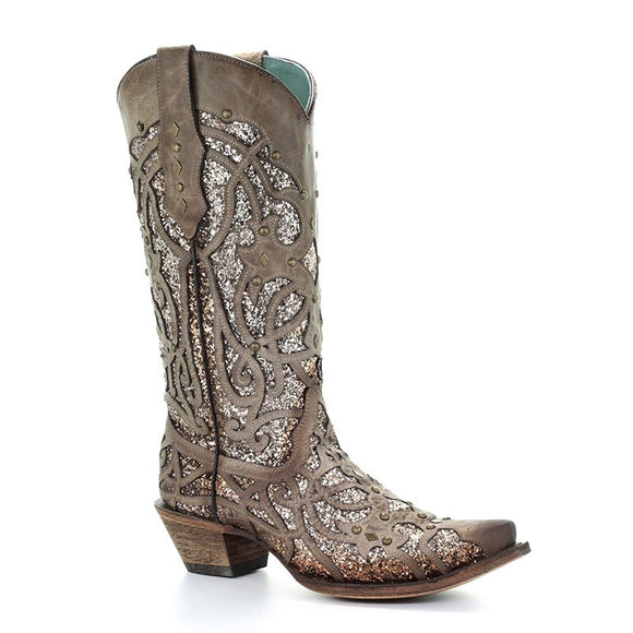 Women's Corral Orix Glitter Inlay & Studs Western Boots The Golden Luminary Roots