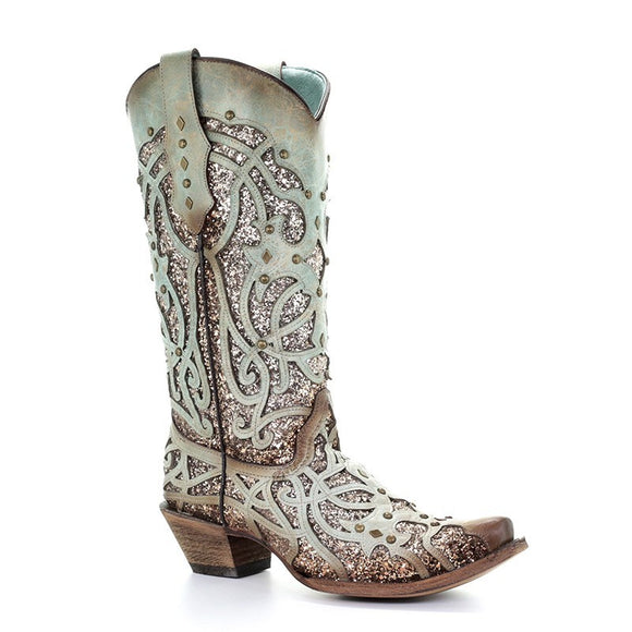 Women's Corral Mint Glitter Inlay & Studs Western Boots The Turquoise Luminary Roots