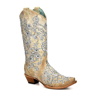 Women's Corral Bone Overlay & Embroidery & Crystals Western Boots Scarlett