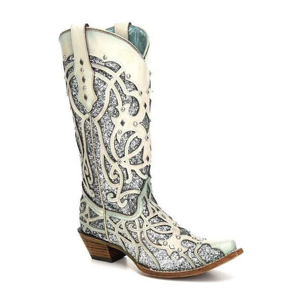 Women's Corral White/Turquoise Chameleon Sun Effect Western Boots Purple Chamaleon